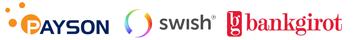 Vi tar betalt via Payson Checkot samt Swish